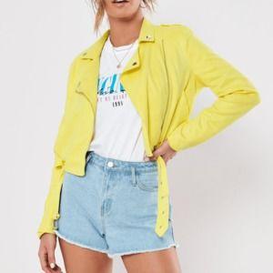 Missguided Banana Yellow Moto Jacket